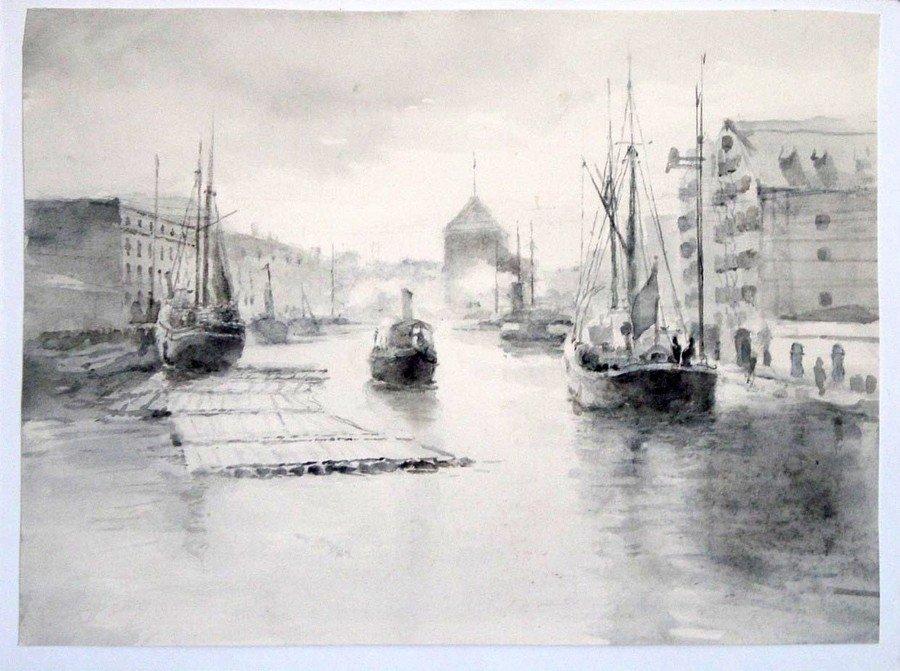 Gdańsk widok na Motławę 2 - akwarela