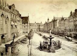 Gdańsk Długi Targ - kredka i tusz