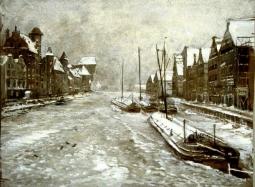 Gdańsk Motława zimą - akwarela i tempera
