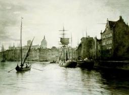 Gdańsk widok na Motławę - akwarela
