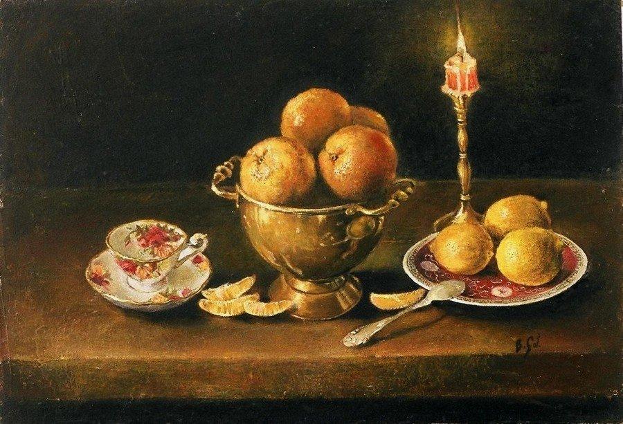 Martwa natura z cytrynami i świecą